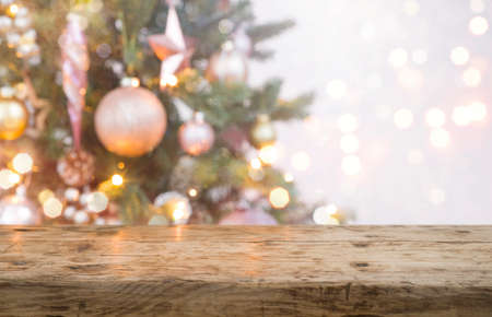 Christmas and New year background with empty product display table Standard-Bild