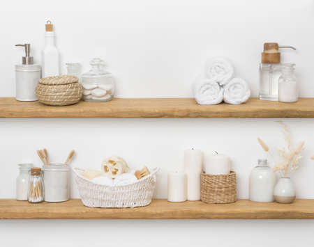 Spa accessories on shelves with copy space for product display Standard-Bild