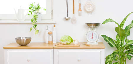 Vegetarian cooking ingredients on top of wooden counter in kitchen