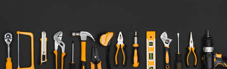 Lots of working tool objects random arranged on white as background