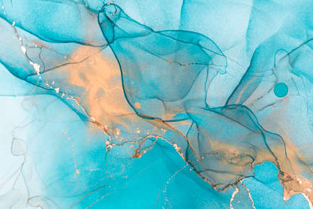 Blue abstract splash painting for wall, postcard or brochure design