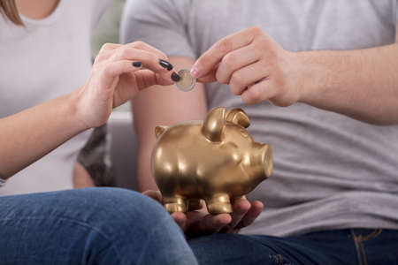 jointly: Couple saves money with piggy bank