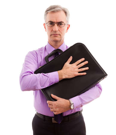 freaked: Business man holding and protect briefcase Stock Photo