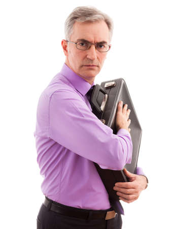 freaked: Senior business man care and holding briefcase