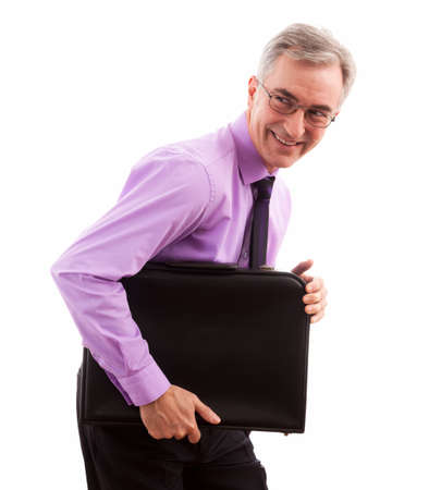 freaked: Smiling happy businessman holding briefcase