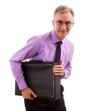 Greedy senior business man isolated Stock Photo - 27258618
