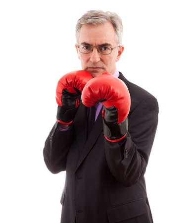sporting: Business man in boxing gloves first punch