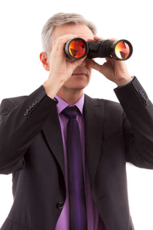 vigilant: Senior Man holding binoculars and looking job ideas Stock Photo