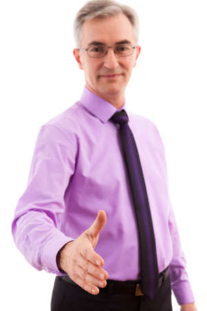 Senior Business man handshake isolated photo