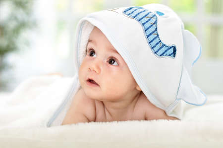 Adorable baby After shower time photo