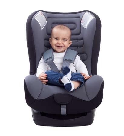 흰색 자동차 좌석에 앉아 유아 아기 아이 미소, 격리
