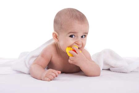 joyfull: Joyfull baby child after bath time isoalted Stock Photo