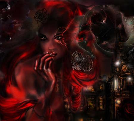 dark sky: Distant sad alone woman through life