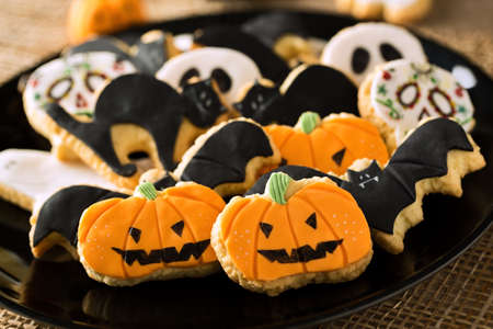 Halloween homemade gingerbread cookies background