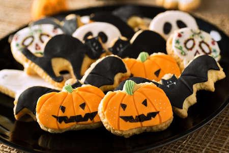 citrouille halloween: Halloween pain d'épice maison biscuits fond Banque d'images