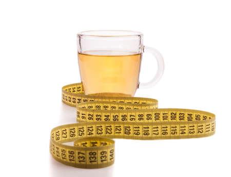 yellow tea pot: Slimming tea with meter isolated on white Stock Photo