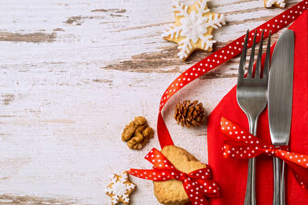 Cutlery decoration with bow festive for christmas holiday