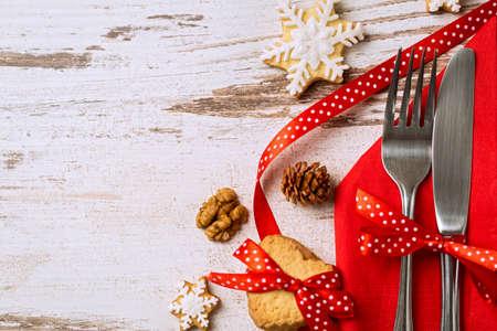 almuerzo: Decoración Cuchillería con la festiva arco para vacaciones de Navidad
