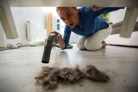 dirty blond: Surpriced blonde housewife find dust under furniture Stock Photo