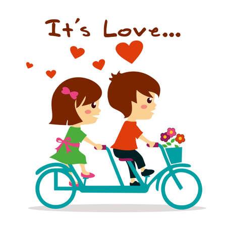 pareja abrazada: Hermosa chica y chico en el amor andar en bicicleta Vectores