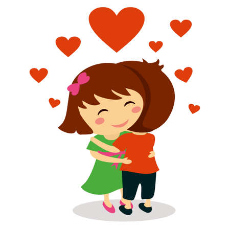 Children in love hugging for valentine day Çizim