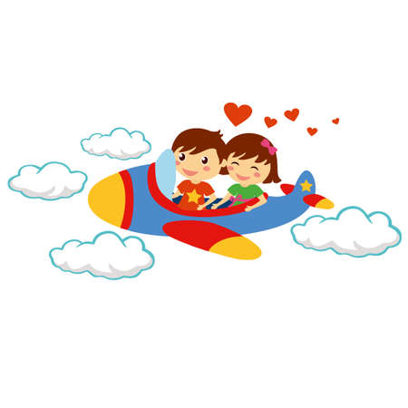 two children: Smiling happy young couple traveling with airplane for valentine day holiday
