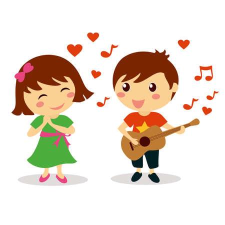 Leuke jongen zingt een liefdeslied om mooie glimlachende meisje voor valentijn dag Vector Illustratie