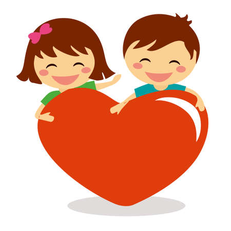 Valentine Day children holding heart