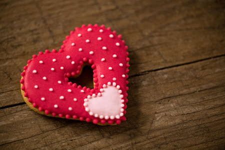 Beautiful red heart for valentine day on wooden desk Stock Photo