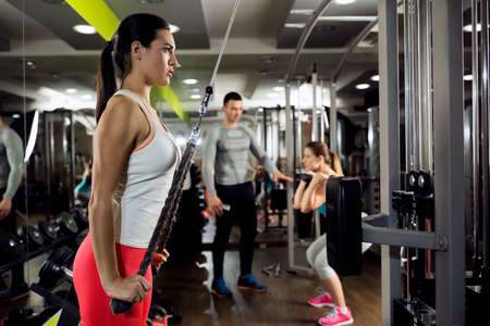 gym: Fitness woman workout strength training with weight