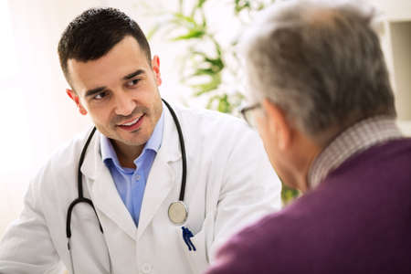 Old sick man visit doctor, patient care