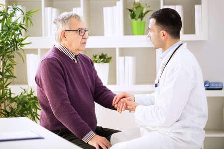 Doctor console senior patient, sick concept