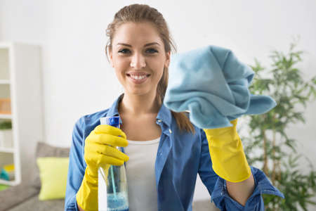Attractive Woman Washing the Window with spray and rag