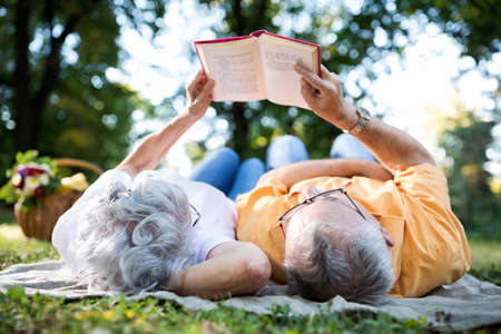 people relaxing: Lovely senior couple resting at park, reading a book Stock Photo