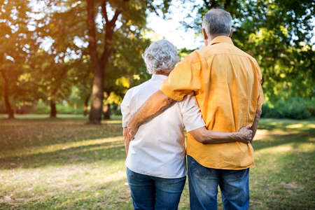 Senior cute couple enjoying in the nature with love Stock Photo