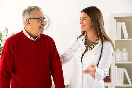 frailty: Senior man on consultation with doctor