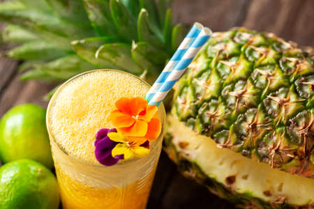 Refreshing tropical fruit smoothie for gaining tons of life energy, living a healthy life