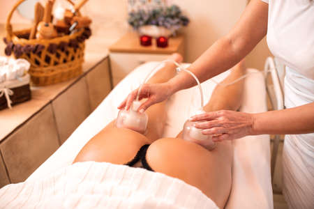 Anti-cellulite massage with silicone suction cups, anti-cellulite concept