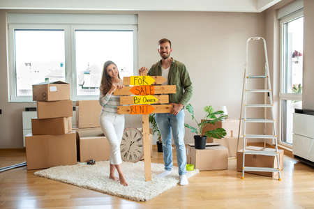 A couple moving in the new home, concept of moving in