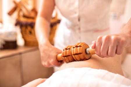 Thigh massage for tonus and body tightening, body and mind relaxation