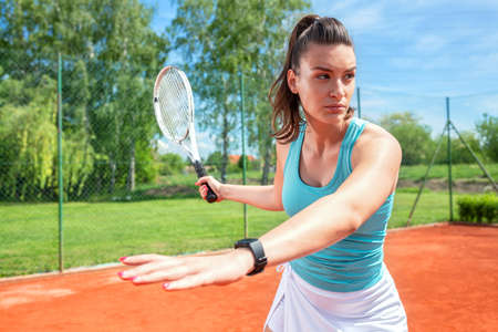 Correct forehand body posture in tennis, concept of outdoor sports