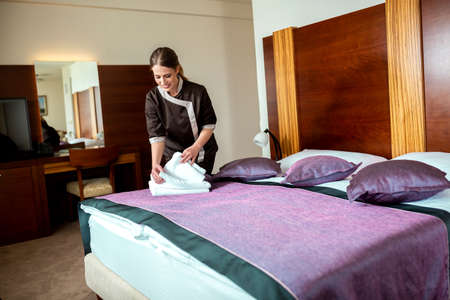 Hotel cleaning staff doing an excellent job, hotel maintenance Stock Photo