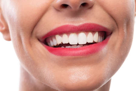 Close up of pretty lips, beautiful smile and healthy teeth, oral hygiene Stock Photo