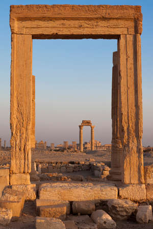 cadre: ancient pillar cadre at archeological site of Palmyra in Syria
