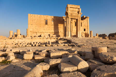 Ruins of ancient Temple of Bel at city of Palmyra, Syria Stock Photo