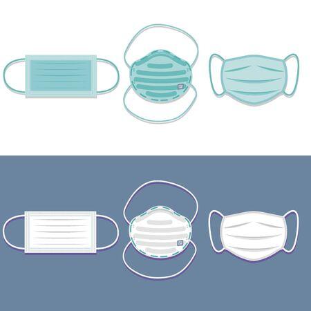 Medical mask. Protective respiratory mask. Virus and dust protection. Coronavirus. Mask N95. Flat cartoon design. Vector illustration  イラスト・ベクター素材