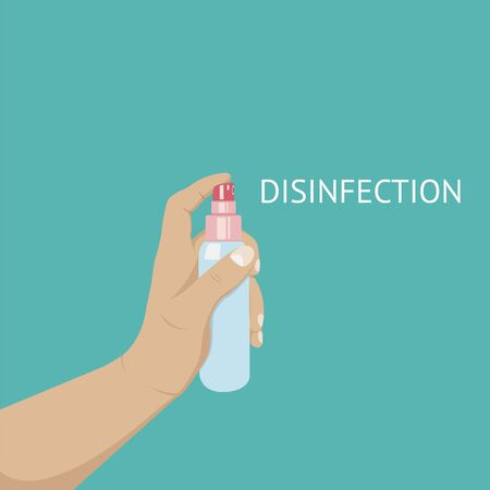 Anti-Bacterial Sanitizer Spray. Spray bottle icon. Alcohol spray. Household Chemicals. Infection control concept, Coronavirus, 2019-nCoV, flu, virus. Flat vector