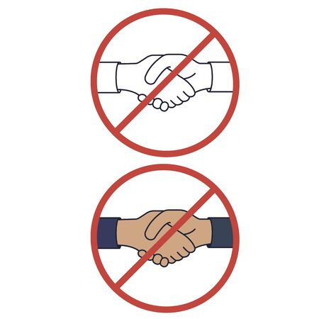 Handshake ban. No handshake the red badge icon, avoiding physical contact and infection with the coronavirus. Methods to prevent transmission of infection, virus, coronavirus, influenza. Vector