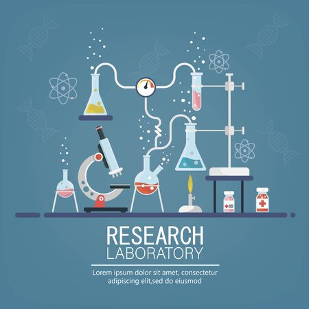 Laboratory Research. Medical Research. Testing of vaccine. Vaccine of coronavirus .Chemists scientists equipment. Flat design banner for web. Vector illustration
