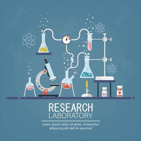Laboratory Research. Medical Research. Testing of vaccine. Vaccine of coronavirus .Chemists scientists equipment. Flat design banner for web. Vector illustration Ilustração Vetorial